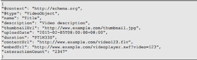 Structuured data for video